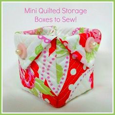 Valentine Mini Quilted Storage Box - Fabric is FreeSpirit Valentine by Tanya Whelan