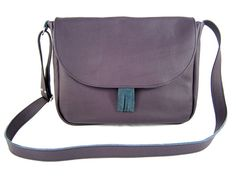 LEATHER BAG messenger  shoulder bag violet womens by Torebeczkowo