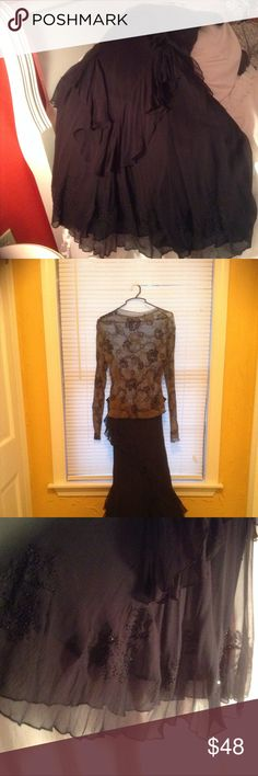 Skirt Black with sequins and beads and embroidery cami - Newport Skirts Maxi