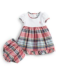 Ralph Lauren - Infant's Ribbed Madras Dress & Bloomers Set