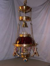 RARE JUNIOR ANTIQUE JEWELED ANSONIA HANGING LAMP ( 10 INCH RED HOBNAIL SHADE )