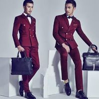 2016 Burgundy Double Breasted Groom Tuxedos Fashion Mens Wedding Prom Party Suits Italian Style Gentleman Suit(jacket+pants)
