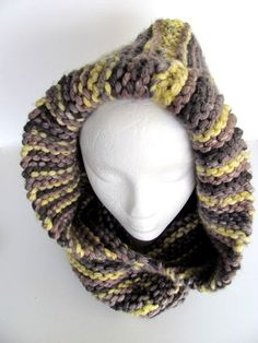 Hooded Striped Cowl FREE US Shipping by AllAboutTheButtons on Etsy