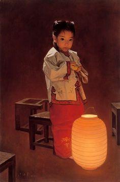 Red Lantern by Zhu Yi Yong (was born in Chongching, Sichuan Province, in 1957)