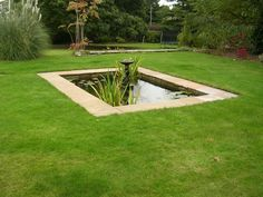 Rectangular pond set into the lawn