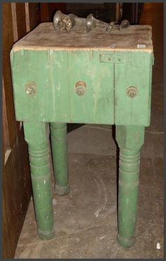 Nice old chopping block with the original green paint.