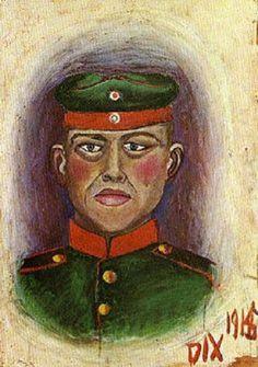 Otto Dix - Selbstbildnis (1915) als Schießscheibe