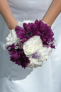 Beautiful, Modern Purple Gerbera Bouquet with Peonies and Roses