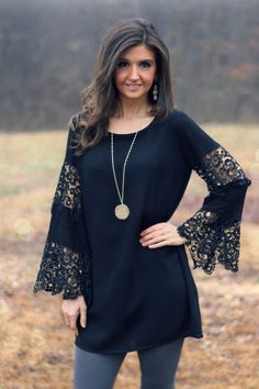 Umgee Bell-Sleeve Black Dress with Lace Inserts and Trim