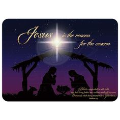 Best beautiful night time Holy night Nativity scene Christmas card with Star of Bethlehem and Jesus is the reason for the season in gold.
