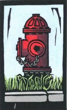 Original Linocut of Fire Hydrant By Ken Swanson