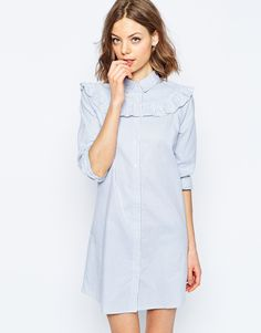 Buy ASOS Shirt Dress with Frill Detail in Stripe at ASOS. Get the latest trends with ASOS now. Simple Dresses, Day Dresses, Pretty Dresses, Dress Outfits, Short Dresses, Asos Fashion, Fashion 2017, Fashion News, Fashion Online