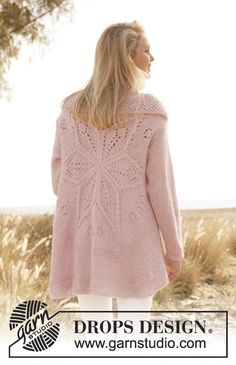 """Knitted DROPS jacket worked in a circle with lace pattern in """"Alpaca"""" and """"Kid-Silk"""". Size: S - XXXL. ~ DROPS Design"""