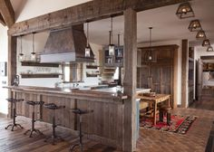 Rustic Kitchen flooring Faux brick stone floor - Cabin Home Decorating Trends