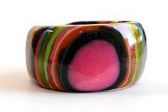 chunky bangle  vertical striped handmade resin bangle cuff on Etsy, $70.00