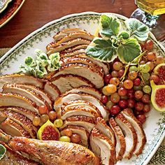 Smoked Turkey Breast Recipe Main Dishes with apple cider, kosher salt, sugar, apple cider vinegar, fresh thyme, rosemary sprigs, sage leaves, garlic bulb, ice cubes, bone-in turkey breast