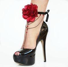 a pair roses barefoot sandals 2 pieces anklet von viennadarkness Black Velvet, Bare Foot Sandals, Anklet, Barefoot, Stiletto Heels, Collars, Peep Toe, Roses, Walking