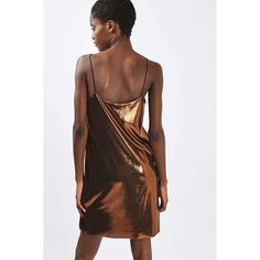 Metallic Slip Dress by Nobody's Child (1.910 RUB) ❤ liked on Polyvore featuring dresses, topshop dresses, little black dress, brown dresses, metallic dress and lbd dress