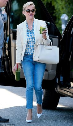 Naughty: Reese Witherspoon wore white pumps long before Memorial Day as she stepped out in...