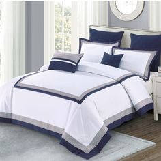 Chic Home Odessa 7 Piece Comforter Set Size: Queen, Color: Black Modern Comforter Sets, Luxury Comforter Sets, Queen Comforter Sets, Duvet Sets, Draps Design, Bed Cover Design, Bed In A Bag, Grey Bedding, Bed Spreads