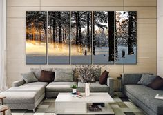"LARGE 30""x 60"" 5 Panels Art Canvas Print beautiful Winter light rays nature tree Wall Home Decor interior (Included framed 1.5"" depth)"