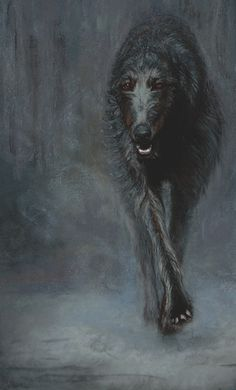 "FogHound | Rosalind Trigg  (Scottish Deerhound) Signed, limited edition of fifty On hand-torn English watercolor paper 20"" x 29"" http://www.nobledogs.com"