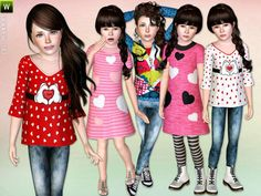 Colorful Valentine Clothing Set by Lillka - Sims 3 Downloads CC Caboodle