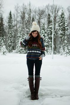 grandpa sweater :) So cute. Almost love the whole outfit...the big ball on the beanie is too much for me. haha