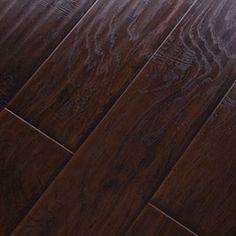 6.38 Handscraped Click Lock Hickory Espresso Laminate Flooring