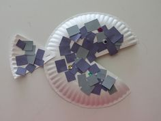 "Quick and easy sequin and paper covered fish/paper plate craft for ""Under the Sea"" unit."