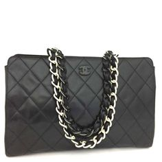 201aabb688e77c CHANEL Quilted Lambskin CC Logo Plastic Chain Shoulder Tote Bag Black /n264 Chanel  Double Flap