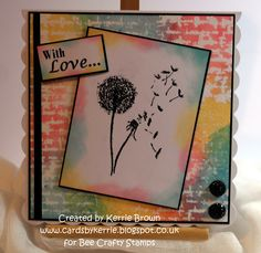 made using 'BEAUtanicals - Dandelion' 'Davinci - Script' and 'With Love - Wordage' stamps - distress inks and bleach