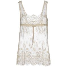 Le Coeur De Twin-set Simona Barbieri Top ($47) ❤ liked on Polyvore featuring tops, ivory, lacy tops, ivory top, ivory sleeveless top, white lace top and lacy white top