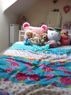 All my eddies and cushions on the end of my bed