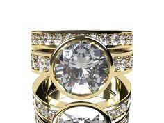White sapphire engagement ring set made from Yellow gold by TorkkeliJewellery, $8858.00