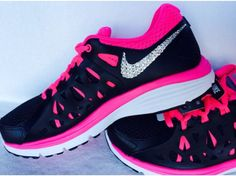 Nike Dual Fusion tennis shoes in Black/Pink/White with Swarovski crystal detail Nike Shoes Cheap, Nike Free Shoes, Nike Shoes Outlet, Running Shoes Nike, Cheap Nike, Nike Outfits, Fall Outfits, Cute Shoes, Me Too Shoes