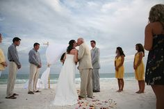 real beach wedding in gray and yellow
