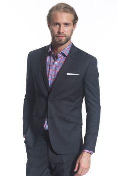 Suits - Barker Charcoal Herringbone Jacket - Barkers
