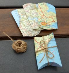 recycled map gift boxes