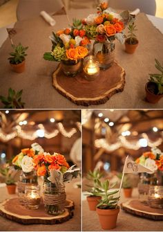 beautiful wood slices as centerpieces for this rustic barn wedding