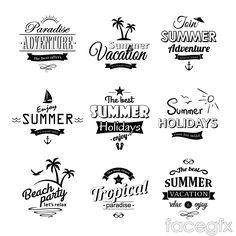 Black summer tag vector