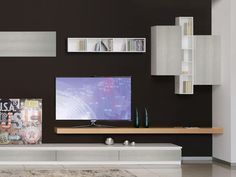 Furniture for living room, with bookcases and TV stand
