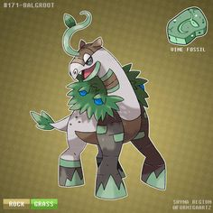 Name: Balgroot Type: Grass/Grass Ability: Leaf Guard/Gluttony Height: m Weight: kg Evolution: Description: Studies.