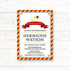 Gryffindor Baby Harry Potter Baby Shower Printable Invitation by CrissyDesignCo Printable Invitations, Baby Shower Invitations, Baby Animal Games, Who Knows Mommy Best, Harry Potter Baby Shower, Fingerprint Tree, Chocolate Frog, Whats In Your Purse, Baby Bingo