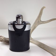 Vintage Hip Flask Black Leather Case Travel by ChattCatVintage