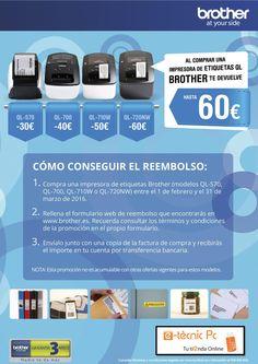 Impresoras de etiquetas de Brother en oferta hasta el 31/03/2016, hasta 60,00€ de reembolso. http://tienda.e-tecnicpc.com/index.html?msgOrigen=3&from=form&PatronBusqueda=1602_BROTHER4&x=0&y=0