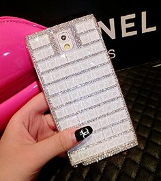 ACC5Star(TM) New Stylish Bling Diamante Diamond Crystal Silver Chain Clear Case Cover Skin for Samsung Galaxy Note 4 + High Quality Random Color Stylus + 10*15 Cm Green Soft Clean Cloth with Logo - White:Amazon:Cell Phones & Accessories