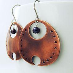 Devoré - Artisan Earrings in Copper with Freshwater Pearl - $82