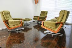 Mid Century 4pc Tessa T21 3 seater 2 Swivel Armchairs Retro Vintage Lounge Suite in Home & Garden, Furniture, Sofas, Couches   eBay 360 Modern Furniture