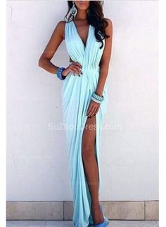 USD$129.00 - Light Blue Prom Dresses V-neck Ruffles Sleeveless Sexy Side Slit Sloor Length Beach Evening Gowns - www.suzhoudress.com